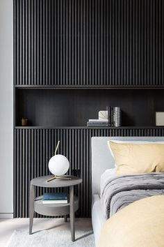 Stilvoller Minimalismus im New Yorker Wolkenkratzer Fotos Ideen Design Contemporary Bedroom, Modern Bedroom, Black Bedroom Design, Contemporary Kitchens, Bedroom Black, Home Bedroom, Bedroom Decor, Master Bedroom, Bedroom Ideas