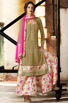 Beige Georgette Palazzo Suit