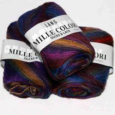 Mille Colori Socks&Lace Blau-Bordeaux-Lila-Orange - Heikes Handgewebtes