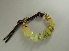 Gin & Tonic Organic Prehnite Gemstone Bracelet by pmdesigns09