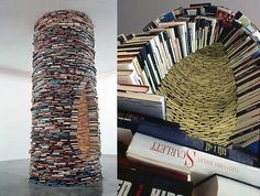 "The enormous stacked book assemblage called ""Idiom,"" by Matej Kren, has found a permanent home in the Prague Municipal Library and Gallery on Marianske namesti."