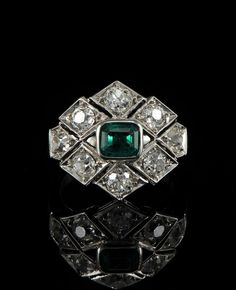 Stunning Art Deco .85ct Colombian emerald & 2.20ct old mine cut diamond ring. ca 1925.