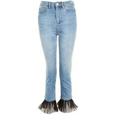 Topshop Moto Tulle Hem Straight Leg Jeans ($29) ❤ liked on Polyvore featuring jeans, topshop, mid rise straight leg jeans, blue jeans, low jeans, topshop jeans and cropped jeans