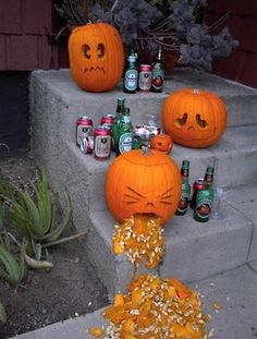 hilarious. I think it could be as funny with piles of empty candy wrappers instead of the booze bottles! Kids would be pretty grossed out.
