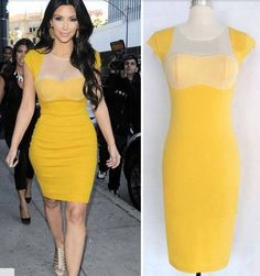 2015 New Fashion Ladies Celebrity Style Sheath Pencil Dress Business Party Clubwear Evening Dress Slim Bodycon Dress For Women