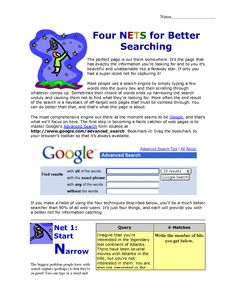 Four quot nets quot for better searching describes how 4 simple ideas can