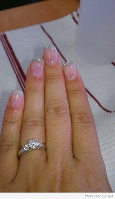 french nails ballerina Upside Down Braid Fancy Nails, Love Nails, Pretty Nails, My Nails, Colorful Nail Designs, Acrylic Nail Designs, Nail Art Designs, Bridal Nails, Wedding Nails