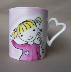 Little blond girl custom, personalized hand painted porcelain cup with a heart shaped handle.