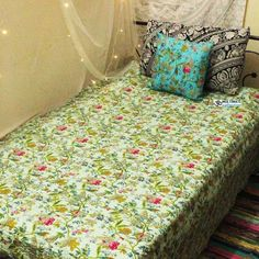 """Light Blue Paradise Quilt This Beautiful Kantha Bedspread is made with cotton and natural vegetable colors. These Kantha Quilt are made by our craftsman in India. The stitches over it is called """"Kantha sticth"""". Boho Bedding, Bedspread, Kantha Quilt, Quilts, Light Colors, Light Blue, Cheap Room Decor, Bohemian Style Bedrooms, King Queen"""