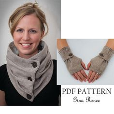 Combo Infinity Scarf and Fingerless Glove Pattern with Strap. PDF Glove Sewing Patterns Combo Infinity Scarf and Fingerless Glove Pattern with Strap. Sewing Scarves, Sewing Clothes, Diy Clothes, Sewing Hacks, Sewing Projects, Sewing Tips, Fabric Combinations, Creation Couture, Pdf Sewing Patterns