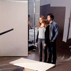 Cara Delevingne and Nat Wolff behind the scenes of the Paper Towns poster