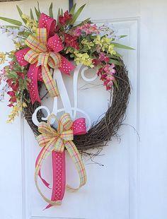 Monogram Wreath- Spring And Summer Wreath-Grapevine Wreath-Wreath For Front Door- Summer Wreath-Sassy Door Wreath, wedding Monogram wreath
