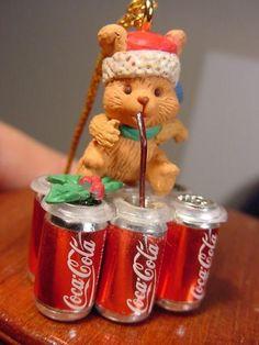 MINIATURE SIX PACK CANS OF COCA COLA Coke Ornament ENESCO CHRISTMAS TASTE wbox