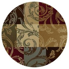 Alise Rugs Infinity Transitional Floral Round Area Rug - multi - x x - Moderate Traffic) (Jute, Color Block)