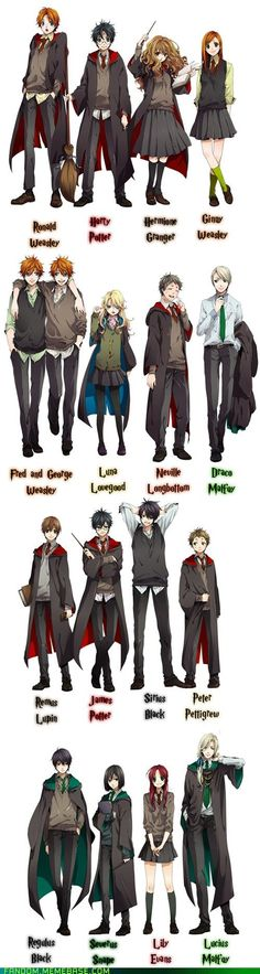 The Harry Potter cast drawn in anime style.