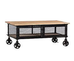 Mesa de centro con ruedas de madera de mango y hierro - marrón