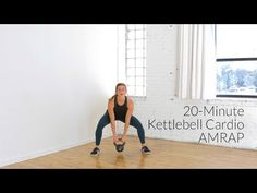 Five of my favorite kettlebell exercises in one, challenge kettlebell cardio workout! You'll burn up to 400 calories, build lean muscle, and get your heart rate up in just 20 minutes using only one piece of equipment! Kettlebell Workout Video, Amrap Workout, Kettlebell Circuit, Kettlebell Training, Workout Videos, Workout Tips, Short Workouts, Cardio Workouts, Workout For Beginners