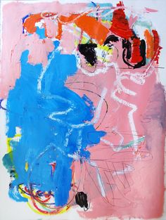"somewhere split. mixed media. acrylic, oil pastel, graphite on paper 22x30"""
