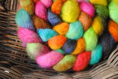 I love these colors!  Hand Painted BFL Roving FREE SHIPPING by sewspun on Etsy, $14.00