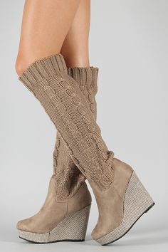 Knit Knee High Wedge Boot