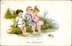 Künstler Ansichtskarte / Postkarte Frank, Elly, Am Waldbach, Drei Kinder angeln