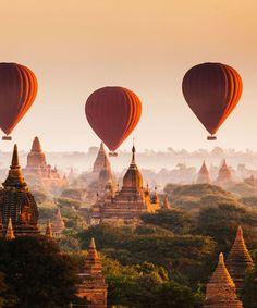 Bagan Temples Myanmar transport aircraft balloon Hot Air Balloon hot air ballooning vehicle atmosphere of earth evening