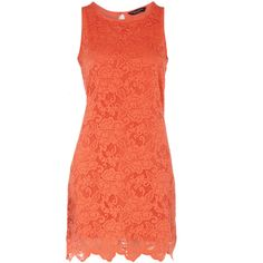 Orange sleeveless lace dress - Dorothy Perkins - Polyvore