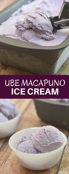 Ube Macapuno Ice Cream made with purple yam and coconut sport. Rich, creamy, and with intense ube flavor, it's your next favorite frozen treat! It's so easy to make, only 4 ingredients and no ice cream maker needed!