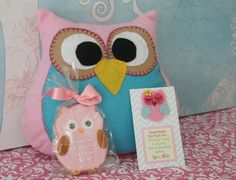 take home from a sleepover party -owl pillow and cookie