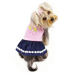 Strawberry & Denim dog dress Buy for your Pet & Help One in Need. See more dog clothes in my pet boutique. Every purchase helps animals in need. Puppy Diapers, Really Cute Dogs, Cute Dog Clothes, Picnic Dress, Dog Clothes Patterns, Designer Dog Clothes, Dog Food Storage, Dog Shower, Dog Hoodie