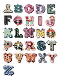 Jonny Wan Illustrated Type #alphabet #Alfabeto ilustrado por Jonny Wan