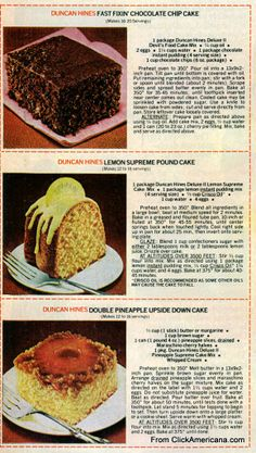 6 dessert recipes with Duncan Hines cake mix Fast fixin' chocolate chip cake Lemon supreme pound cake Double pineapple upside-down cake, Cinnamon streusel cake Cake mix chocolate chip cookies Sock-it-to me sour cream pound cake 13 Desserts, Cake Mix Desserts, Cake Mix Recipes, Dessert Recipes, Bread Recipes, Retro Recipes, Vintage Recipes, Cinnamon Streusel Cake, Cookbook Recipes