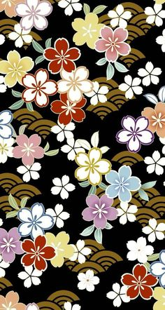 The Beauty of Japanese Embroidery - Embroidery Patterns Japanese Textiles, Japanese Patterns, Japanese Prints, Japanese Design, Chinese Patterns, Vintage Flowers Wallpaper, Flower Wallpaper, Pattern Wallpaper, Wallpaper Backgrounds