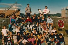 The full Tassie Sk8Crew... Circa 1988. This picture has pretty much everyone, who was anyone on the skateboarding scene in the early 1980's. Sadly a few faces are no longer with us... but for all those who rode on this day, They'll never forget the vibe. That's me standing on the left side of the platform, wearing a Vision Punk Skull t.shirt & the dude beside me is one of my oldest skate buds 'Johno' or 'Doctor Sick' as we called him. Matty's Ramp, Rokeby, Hobart, Tasmania, Saturday…