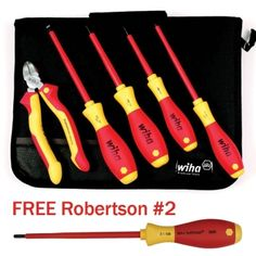 Insulated 5 Pc. Electricians Set with Case