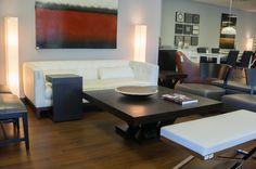 Fulton Sofa in Stone   Bachelor TV Table in Espresso   Madero Square Coffee Table in Espresso   Alexa X-Base Bench in White   Alvarado Chair in Grey