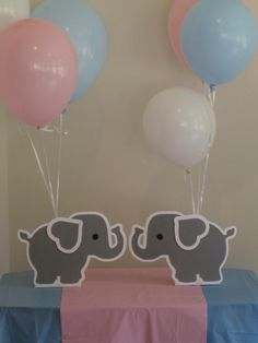2 Elephant Balloon Holder Centerpieces Birthday by Hope2Create