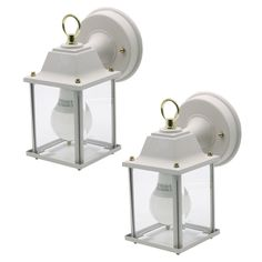 Kichler 2 Pack of Exterior One Light Die Cast Aluminum Square Wall Mount Outdoor Lanterns with Clear Glass, White
