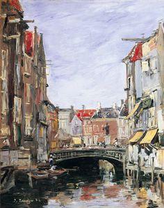 Eugène Boudin - La Place Ary Scheffer, Dordrecht (1884)