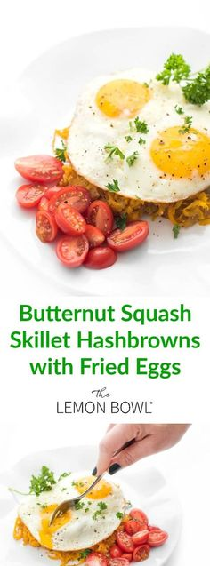 Butternut squash veggie spirals are sautéed until crispy then topped with fried eggs in this healthy, gluten free breakfast skillet recipe.