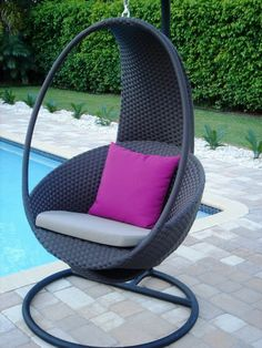 Cool Indoor And Outdoor Hammock Chair Design Ideas Hammock Chair Stand, Hanging Chair With Stand, Hanging Hammock Chair, Outdoor Hammock, Swinging Chair, Outdoor Dining Chair Cushions, Patio Chairs, Swing Chairs, Rattan Chairs