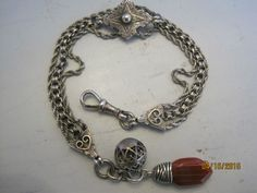 A Pretty Antique Victorian Silver Albertina Watch Chain & Polished Agate Fob.
