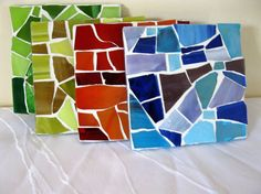 Coasters 4 mosaic colorful glass on glass by Margalita on Etsy, Tile Crafts, Mosaic Crafts, Mosaic Projects, Mosaic Stepping Stones, Stone Mosaic, Mosaic Glass, Mosaic Designs, Mosaic Patterns, Mosaic Diy