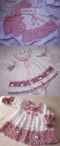 Knitting Dress Baby Robes 30 Ideas For 2019 Baby Girl Crochet, Crochet Baby Clothes, Crochet For Kids, Knit Crochet, Little Girl Dresses, Girls Dresses, Baby Dresses, Peasant Dresses, Dress Girl