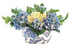 """14"""" Hydrangea in Delft Pot, Faux"""