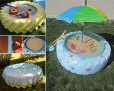 How to turn used car tires into playground equipment – Sand Boxes DIY tutorial instructions, How to, how to do, diy instructions, crafts, do it yourself, diy website, art project ideas