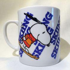 80s Snoopy Ski Skiing Mug Cup Winter Peanuts Charlie Brown