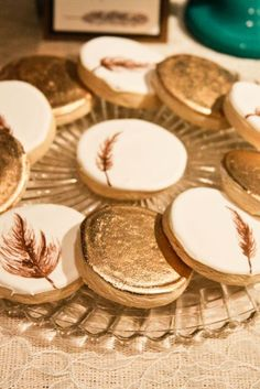 feather and gold painted cookies