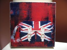 Small Acrylic & Collage on Canvas - United Kingdom, Red, Blue, White (5X5) - Artezoid by Dawn Valdez
