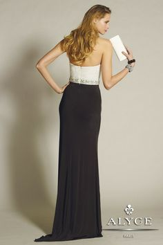 B'Dazzle Dress Style #35665 Look elegantly chic and beautiful in this beaded sweetheart neckline gown with cinched in waist, slim fitting jersey skirt, finished with front side slit.